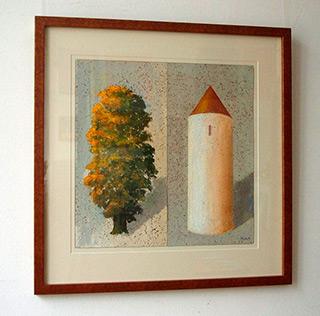 Darek Mlącki : Tower and Tree : Oil on Canvas