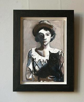 Katarzyna Karpowicz : Harlequin with a cat : Oil on Canvas