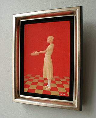 Mikołaj Kasprzyk : Girl with a tray : Oil on Canvas
