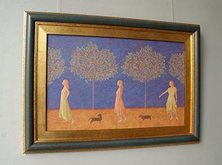 Mikołaj Kasprzyk : Walk with dachshund : Oil on Canvas
