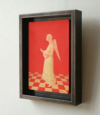 Mikołaj Kasprzyk : Angel with lute : Oil on Canvas