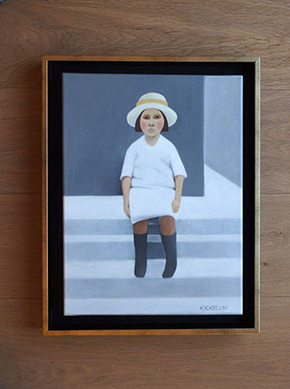 Katarzyna Castellini : The girl on the stairs : Oil on Canvas