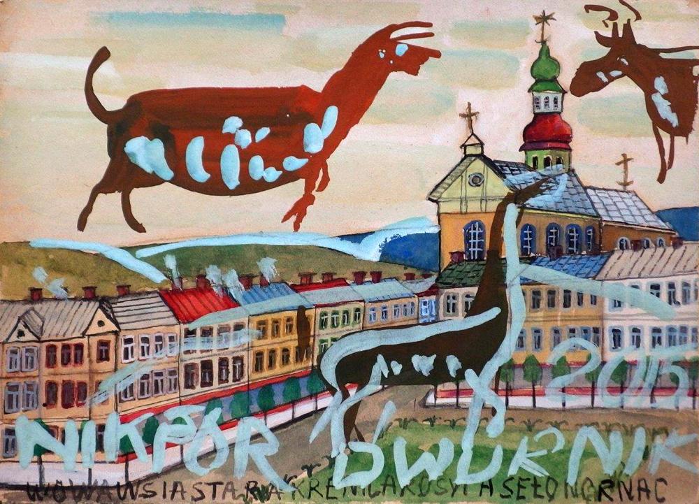 Edward Dwurnik : Animals above the town
