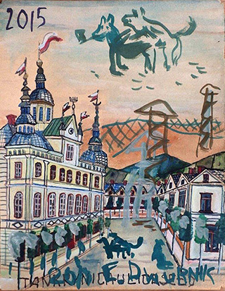 Edward Dwurnik : Wild orgy over the town : Watercolour on paper