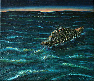 Adam Patrzyk : Liner during a storm : Oil on Canvas