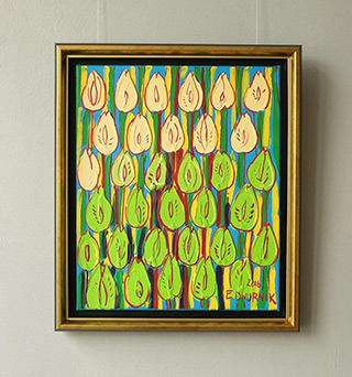 Edward Dwurnik : Yellow and green tulips : Oil on Canvas