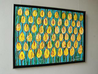 Edward Dwurnik : Yellow tulips field : Oil on Canvas