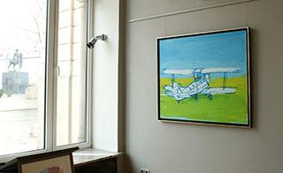 Jacek Łydżba : White biplane on the green grass : Oil on Canvas
