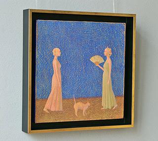 Mikołaj Kasprzyk : Two women and a cat : Oil on Canvas