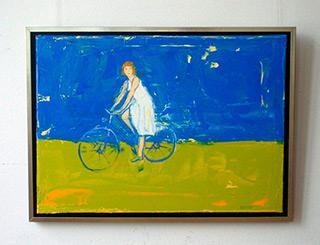 Jacek Łydżba : Lady with bicykle blue : Oil on Canvas