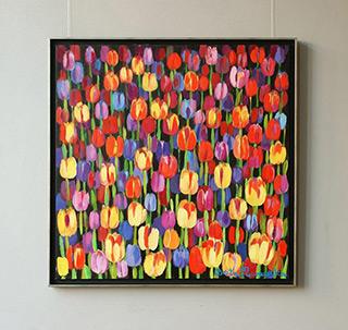 Beata Murawska : Dark tulips field : Oil on Canvas