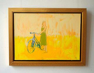 Jacek Łydżba : Lady with bicykle yellow : Oil on Canvas