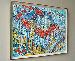 Edward Dwurnik : Royale Castle with DHL trucks : Oil on Canvas