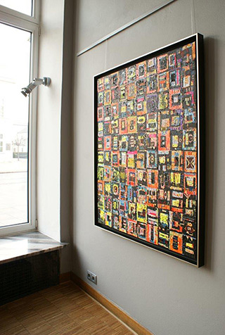 Krzysztof Pająk : Integrated circuit black : Oil on Canvas