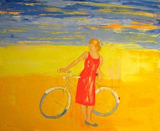Jacek Łydżba : Red dressed lady with bicykle : Oil on Canvas