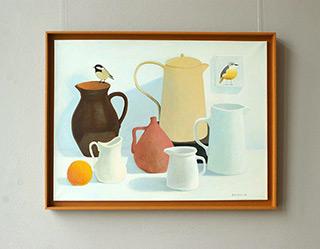 Katarzyna Castellini : Italian pots with two titmouse : Oil on Canvas