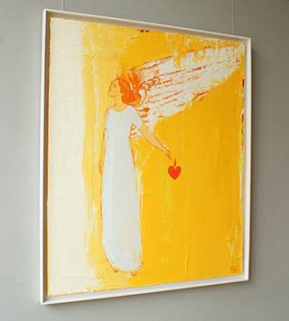 Jacek Łydżba : Angel with a heart of cutouts : Oil on Canvas