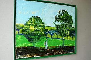 Jacek Łydżba : Garden with little drummer girl : Oil on Canvas