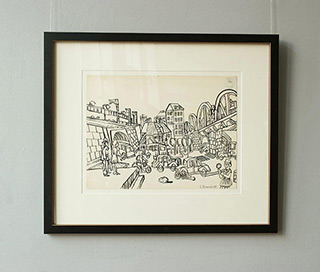 Edward Dwurnik : Between the Viaducts 1968 : India ink on paper