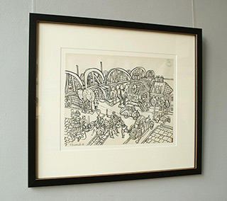 Edward Dwurnik : By the Bridge 1968 : India ink on paper