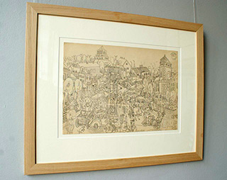 Edward Dwurnik : The Walk I 1968 : Pencil on paper