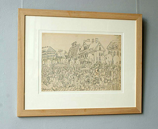 Edward Dwurnik : The Walk II 1968 : Pencil on paper