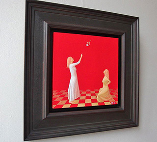Mikołaj Kasprzyk : Two ladies with lily : Oil on Canvas