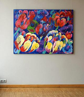 Beata Murawska : Tulips with blue : Oil on Canvas