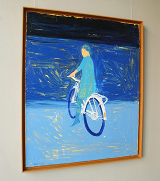 Jacek Łydżba : Blue cyclist : Oil on Canvas
