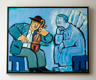 Krzysztof Kokoryn : Violin player and angel : Oil on Canvas
