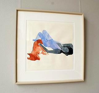 Agnieszka Sandomierz : Girl with a dog : Watercolour on paper