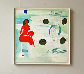 Jacek Cyganek : Red nude : Tempera on canvas
