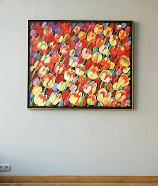 Beata Murawska : Windy field of tulips : Oil on Canvas