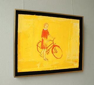 Jacek Łydżba : Biker in a red dress : Oil on Canvas
