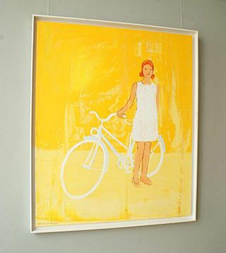 Jacek Łydżba : Biker in a white dress : Oil on Canvas