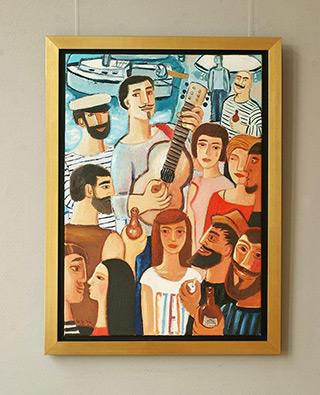 Krzysztof Kokoryn : Party at the marina : Oil on Canvas
