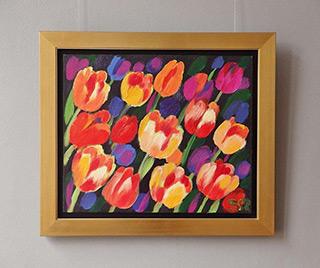 Beata Murawska : Tulips in the dark : Oil on Canvas