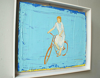 Jacek Łydżba : Cyclist, white on blue : Oil on Canvas
