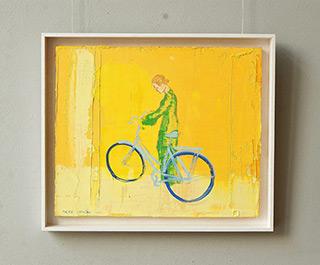 Jacek Łydżba : Green cyclist : Oil on Canvas