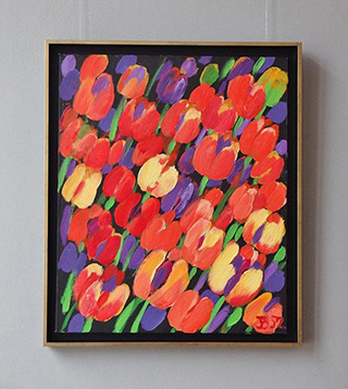 Beata Murawska : Tulips with violet background : Oil on Canvas