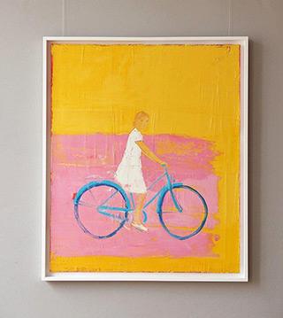 Jacek Łydżba : Biker on the pink : Oil on Canvas