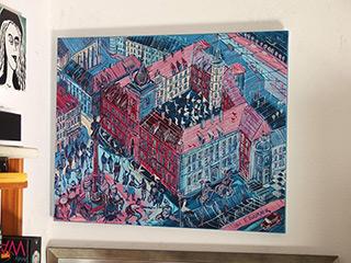 Edward Dwurnik : Warsaw Royale Castle z różowym dachem : Oil on Canvas