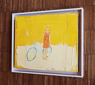 Jacek Łydżba : Cyclist with white dots : Oil on Canvas