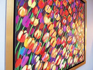 Beata Murawska : Warm field of tulips : Oil on Canvas