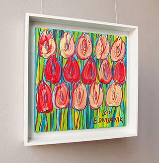 Edward Dwurnik : Pastel tulips : Oil on Canvas