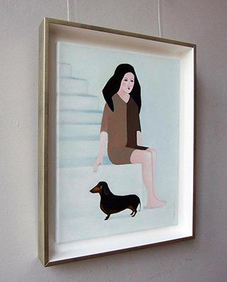 Katarzyna Castellini : Girl with a dachshund : Oil on Canvas