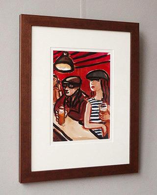 Krzysztof Kokoryn : Couple at the bar : Tempera on paper