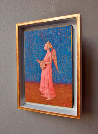 Mikołaj Kasprzyk : Angel with a lute : Oil on Canvas
