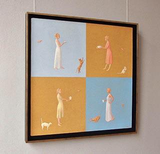 Mikołaj Kasprzyk : Four women with cats : Oil on Canvas