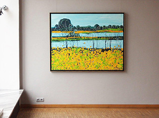 Edward Dwurnik : Landscape with marigolds : Oil on Canvas